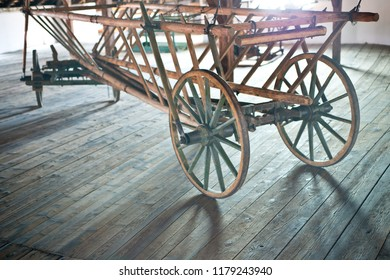 Old wooden hay wagon in the barn.