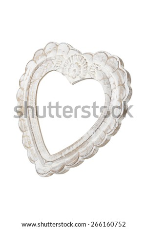 Old Wooden Heart Picture Frame Isolated Stock Photo Edit Now