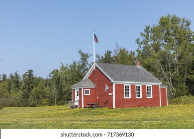 old wooden historic school house in Penobscot, USA