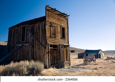 Old wooden house in Bodie ghost town in California.