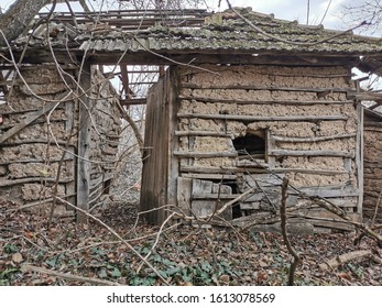 Old wooden house falling apart