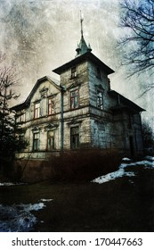old wooden house with grunge texture