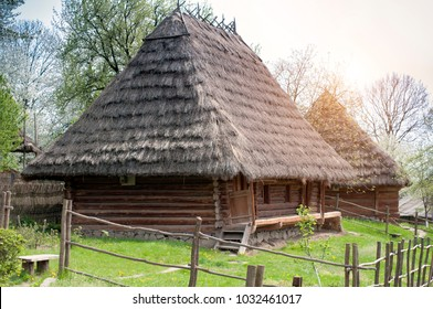 old wooden house. Museum of Folk Architecture in Uzhhorod