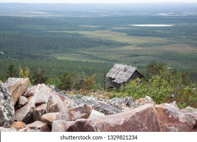Old wooden house on the top of Levitunturi fell on autumn. This cabin is near of ski slopes and it is very popular place for tourist to take photos