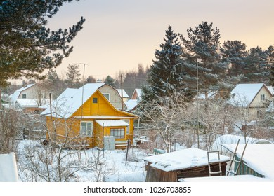old wooden house, russian winter