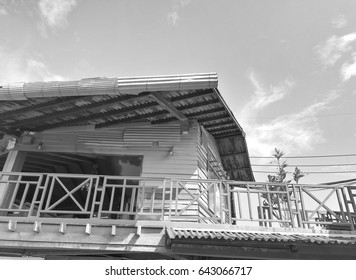 Old wooden house in the suburb of Thailand