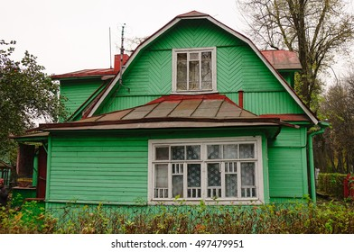 Old wooden house in Tsarskoye Selo, Saint Petersburg, Russia.