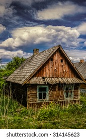 Old wooden house in the village in central Russia.