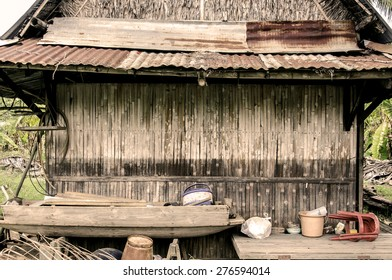 The old wooden house walls made of bamboo.sepia