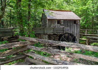Old Wooden house with water turbine in the forest at Great Smoky Mountains National Park,This is the famous place in Tennessee USA.