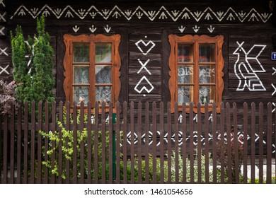 Old wooden houses in Slovakia UNESCO village Cicmany. The ornaments from Cicmany, and the Slovak folk pattern.