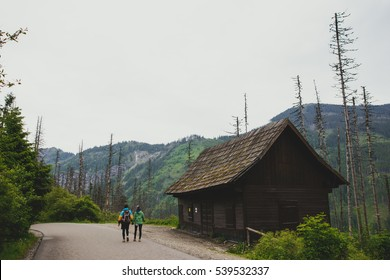 old wooden hut cabin in mountain at rural summer landscape