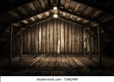 old wooden interior with light bulb