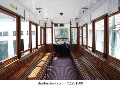 Old wooden interior of tramway