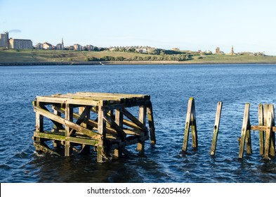 An Old Wooden Jetty on the River Tyne at South Shields