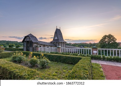 Old wooden Jurkovic bridge after sunset in castle garden at Nove Mesto nad Metuji, Czech republic - Shutterstock ID 1863772312