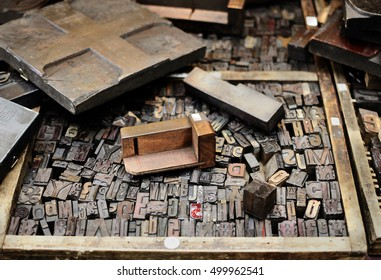 Old wooden letters for printing