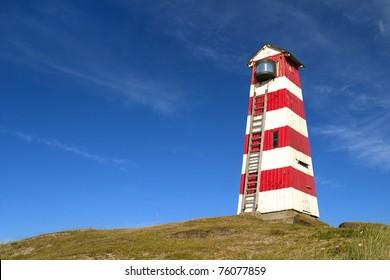 Old Wooden Light House. The Danish West Coast. Denmark.