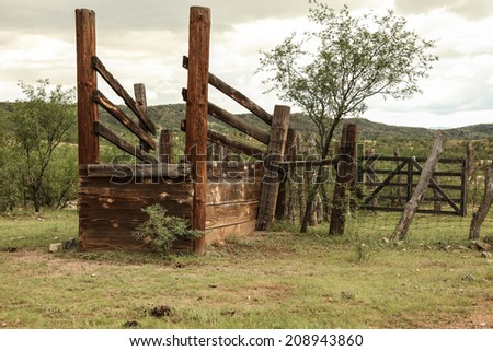 Old Wooden Loading Chute Livestock Countryside Cattle Stock Photo