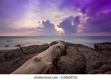 Old wooden log set against sunset sky at beautiful seascape, Surin Beach, Phuket, Thailand. Tropical beach paradise holiday, dramatic beach background.
