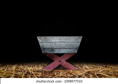 Old Wooden Manger in Dark Barn with Hay be Covered on Ground, Jesus Birthplace Concept.