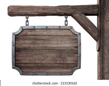 old wooden medieval tavern signboard isolated on white