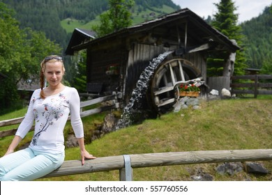 old wooden mill in mountains. mountain landscape