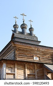 Old wooden orthodox church in the park.