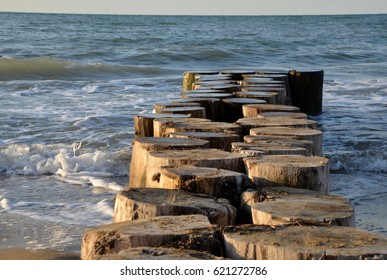 old wooden palisade pier
