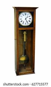 old wooden pendulum clock isolated on white