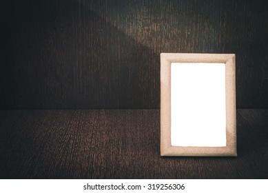Old wooden picture frame with clipping path, Still life