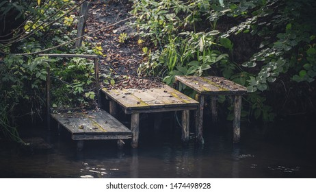 Old wooden pier on the shore.
