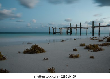 Old wooden pier in Port Lucaya - Bahamas