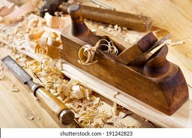 old wooden plane in a workshop