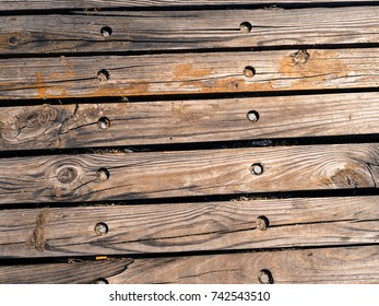 Old wooden planks gritty wood texture background with copy space series