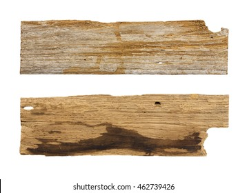 Old wooden planks isolated white background.