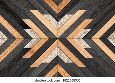 Old wooden planks texture. Dark  wooden panel with chevron pattern for wall decor.