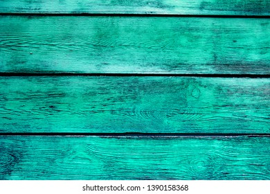 Old Wooden Planks with Weathered Green Paint
