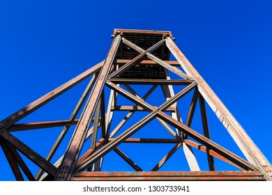 An Old Wooden Poppet Headframe in Waihi, New Zealand. This Structure Once Stood at the Top of a Mine Shaft, Transporting Miners In and Ore Out
