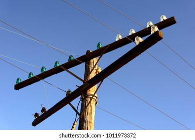 old wooden power poles with glass insulators