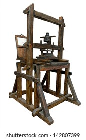 Old wooden printing press. Clipping path included.