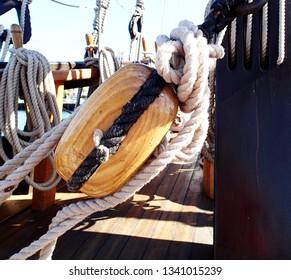 Old wooden pulley for vintage Sailboat Rigging