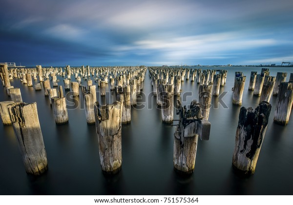 Old wooden pylons of the Princes Pier in Melbourne, Australia