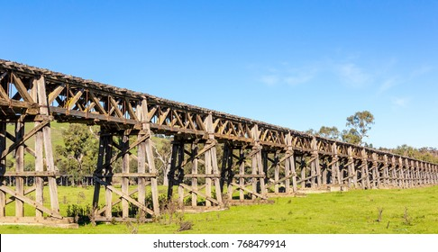 Old Wooden Rail Viaduc and Alfred Bridge across the Murrumbidgee Floodplain, Gundagai, New South