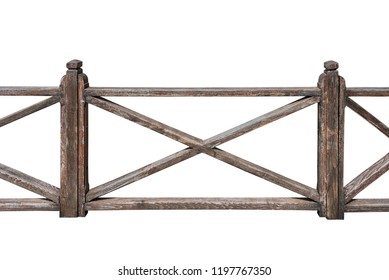 Old wooden railing on white background