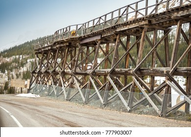 Old wooden railway bridge used to transport silver from mine, Colorado, USA
