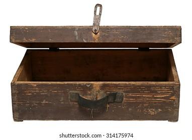 Old Wooden Retro Suitcase Isolated on White Background.