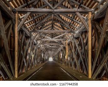 Old wooden Rhine Bridge from Switzerland to Liechtenstein, Vaduz, Liechtenstein, Europe