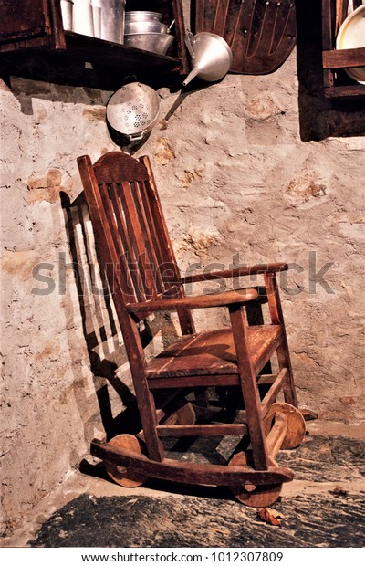Pleasing Old Wooden Rocking Chair Old Crafts Stock Photo Edit Now Ibusinesslaw Wood Chair Design Ideas Ibusinesslaworg