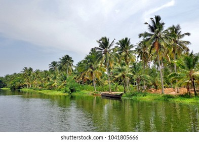 Old Wooden Rowboat on Edge of River in Jungle outside Kochi, India (Cochin / Kerala)